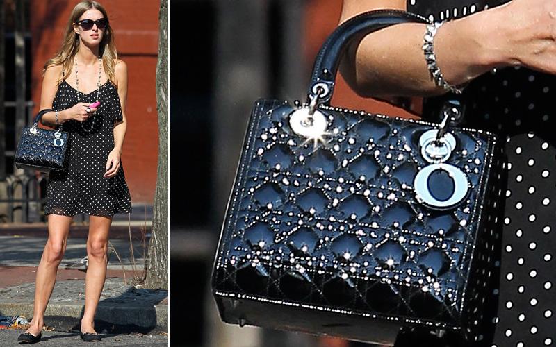 A socialite Nicky Hilton gosta das versões mini de bolsas consagradas, como esta pequena Lady Dior de verniz preto