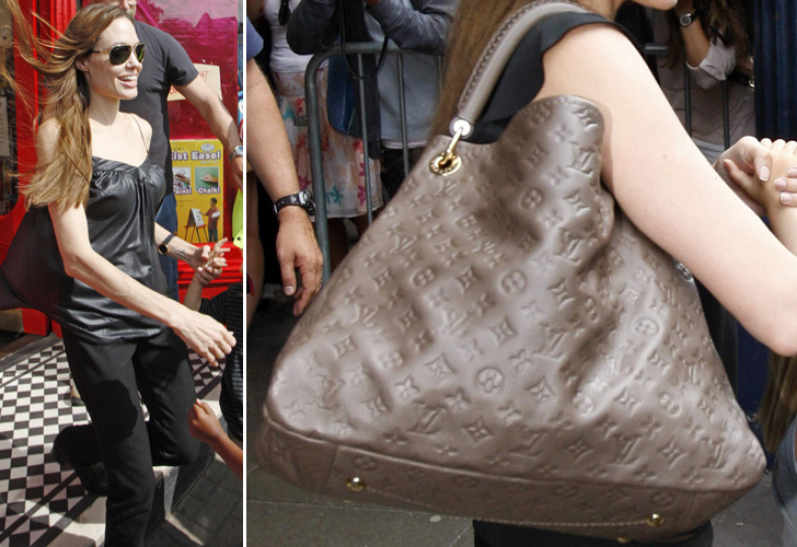 Angelina Jolie, que recentemente posou para uma campanha da Louis Vuitton, usa modelo