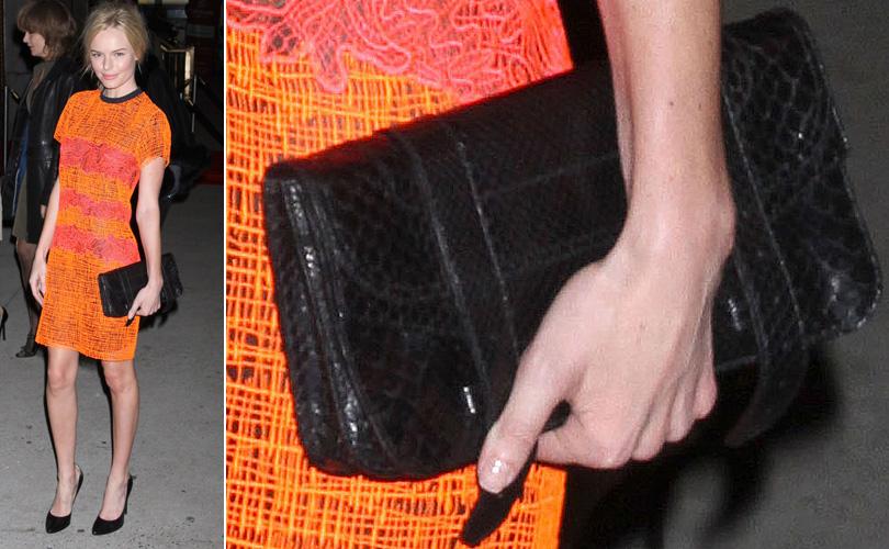 Kate Bosworth é uma das famosas mais entusiastas das bolsas da marca Proenza Schouler. Na foto, ela aparece usando o modelo PS1 em versão carteira de couro de cobra