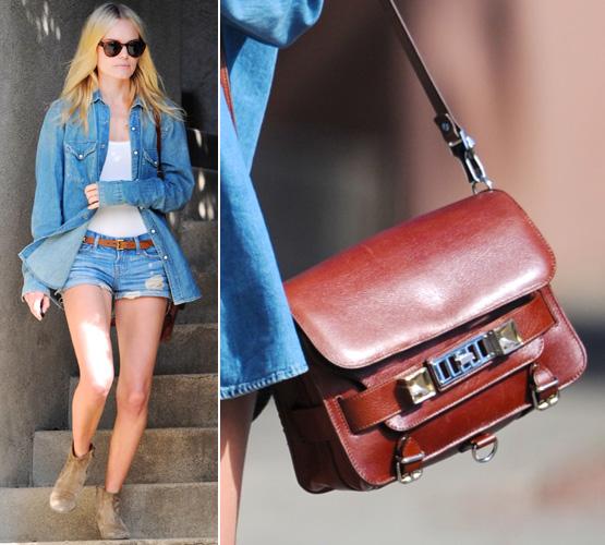 Kate Bosworth usa outro modelo da Proenza Schouler, dessa vez a PS11, que faz parte da febra das bolsinhas pequenas, estruturadas e de alça longa