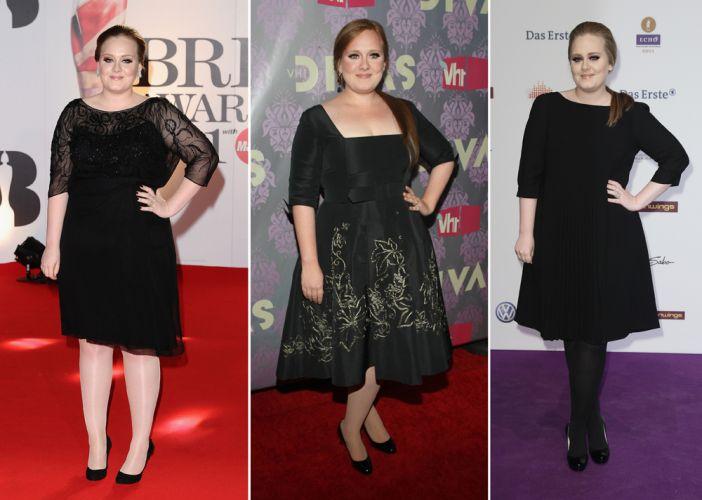 A cantora britânica Adele tem estilo inspirado no vintage. Ela não abre mão do preto e costuma aparecer usando vestidos acinturados, com comprimento logo acima ou na altura dos joelhos
