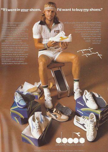 O sueco Björn Borg é um dos maiores nomes do tênis mundial, responsável por cinco títulos consecutivos no torneio de Wimbeldon. Durante a carreira, Borg fez vezes de modelo para a marca esportiva Diadora. Após a aposentadoria, lançou sua própria grife, especializada em roupa íntime e sucesso na Escandinávia