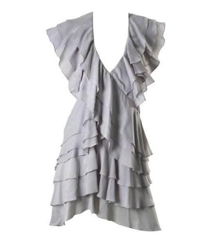 Vestido de babados gelo sai de R  1.194 por R  597 54321cb5b152e