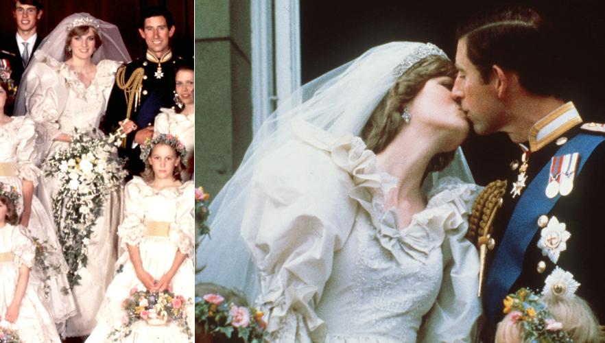 Lady Di em vestido criado por Elizabeth e David Emanuel em tafetá de seda com mangas bufantes e mais de sete metros de cauda durante seu casamento com o príncipe Charles, de Gales, em 1981