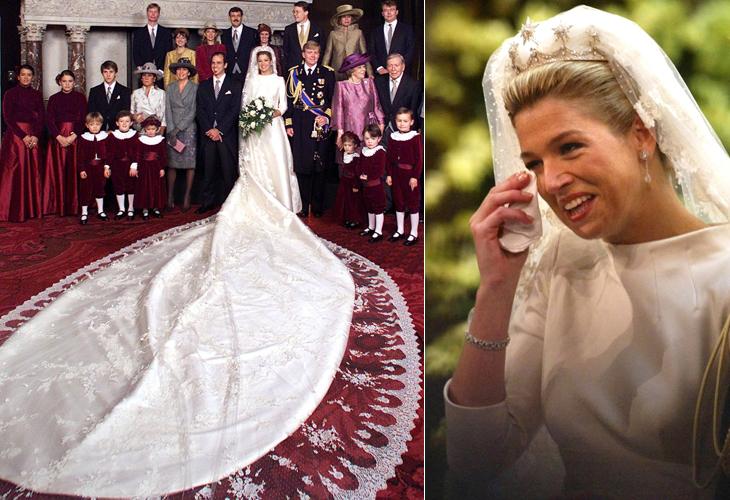 Maxima Zorreguieta, princesa da Holanda, com vestido Valentino de seda marfim e mangas compridas, com cinco metros de cauda, usado em seu casamento com Willem-Alexander, em 2002