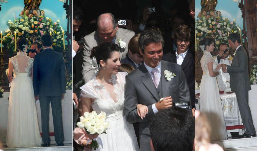 Anna Sophia Folch em vestido rendado de Emannuelle Junqueira durante seu casamento com o ator Ângelo Paes Leme, em 2008