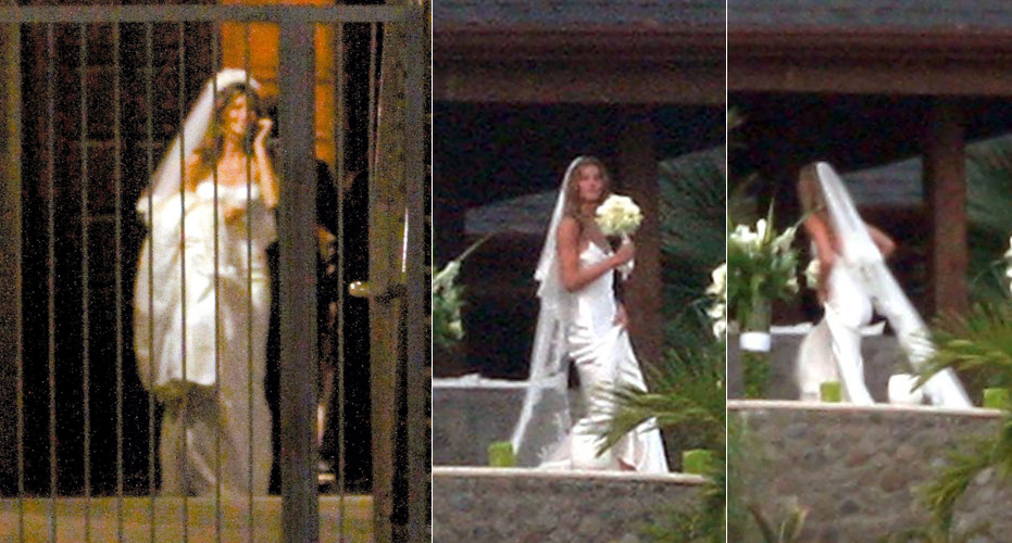 Gisele Bndchen casou-se duas vezes com o jogador de futebol americano Tom Brady, em 2009. Na primeira, em uma cerimnia pequena em Santa Mnica, na Califrnia, a top usou vestido tomara-que-caia Dolce & Gabbana. Na segunda cerimnia, na Costa Rica, optou por uma criao de John Galliano