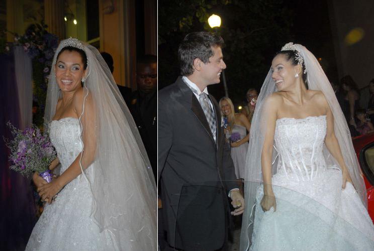 Monica Carvalho usou tomara-que-caia em renda francesa com cristais Swarovski criado por George Moreira para seu casamento com o empresário Alaor Campos, em 2009