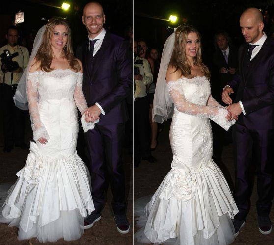 A dançarina Sheila Mello usou um vestido sereia com mangas longas de renda criado pela grife espanhola Rosa Clara em seu casamento com o ex-nadador Fernando Scherer, em junho de 2010