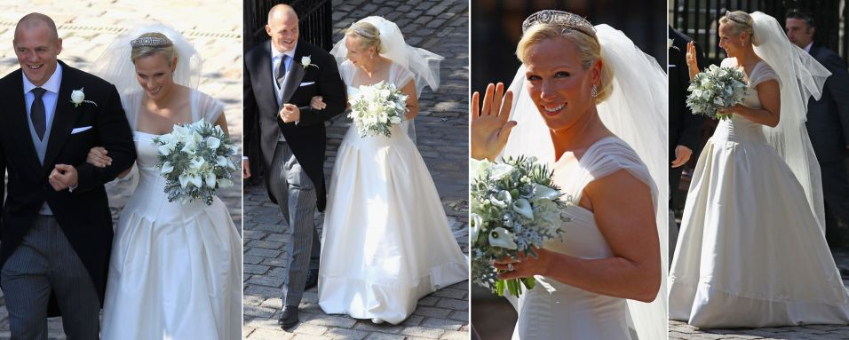 Zara Phillips, neta da rainha Elizabeth 2, se casou com o jogador de rugbi Mike Tindall usando um vestido clssico com corpete marcando a cintura, mangas de tule e saia evas com cauda discreta. A coroa escolhida foi herdada da famlia real grega (30/07/2011)