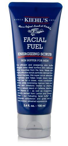 Facial Fuel Energizing Scrub Skin Buffer for Men, Kiehl's. Cafeína, vitamina E, caroço de damasco triturado e extrato de castanha permitem que o esfoliante seja aplicado antes da barba para minimizar a formação de pelos encravados e outras irritações. Preço sugerido: R$ 80. SAC: 0800-7228883Preços pesquisados em julho de 2011 e sujeitos a alterações