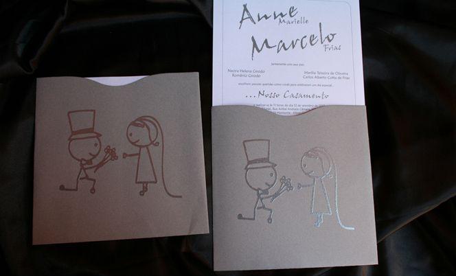 Impressão em alto-relevo na frente do envelope e no cartão; R$ 385 (100 unidades), na Art Foco