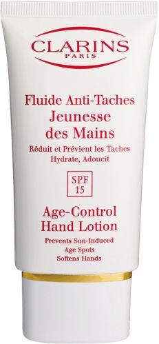 Fluide Anti-Taches Jeunesse Des Mains, Clarins. Protege as mãos dos raios UV, previne o aparecimento de manchas e reduz as já existentes. Além de hidratar, suavizar a pele e fortalecer as unhas. Preço sugerido: R$ 115. SAC: 0800-7043440Preços pesquisados em julho/2011 e sujeitos a alteração