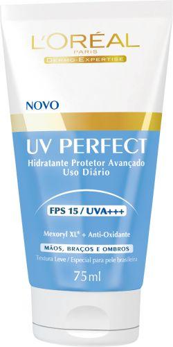 UV Perfect Mãos, Braços e Ombros FPS 15, L'Oréal Paris. Oferece proteção avançada UVA e UVB e um ativo antioxidante, que preserva as fibras de elastina e colágeno por mais tempo e também protege do fotoenvelhecimento, prevenindo rugas e manchas solares. Preço sugerido: R$ 23,90. SAC 0800-7016992Preços pesquisados em julho/2011 e sujeitos a alteração