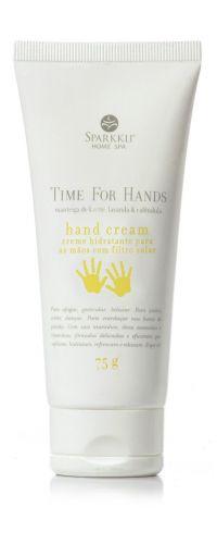 Time for Hands Hidratante para as Mãos, Sparkkli Home Spa - Com FPS 10, manteiga de karité, lavanda e calêndula, o hidratante tem ação antioxidante que combate o envelhecimento precoce. Preço sugerido: R$ 39,00. SAC: (11) 3846-6848