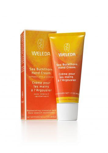 Sea Buckthorn Creme Nutritivo para as mãos, Weleda - Creme hidratante revitalizante, 100% natural, com textura leve e de fácil absorção. Preço sugerido: R$ 29,60. SAC: 0800 77 22 777