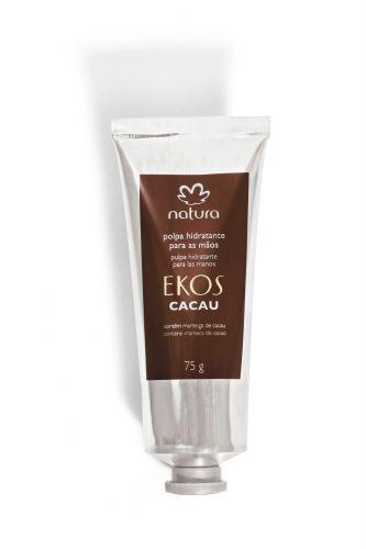 Natura Ekos Cacau Polpa Hidratante para Mãos - Hidrata a pele deixando suave fragrância nas mãos, tem fácil absorção e é indicado para uso diário. Preço Sugerido: R$ 20,80. SAC: 0800-115566