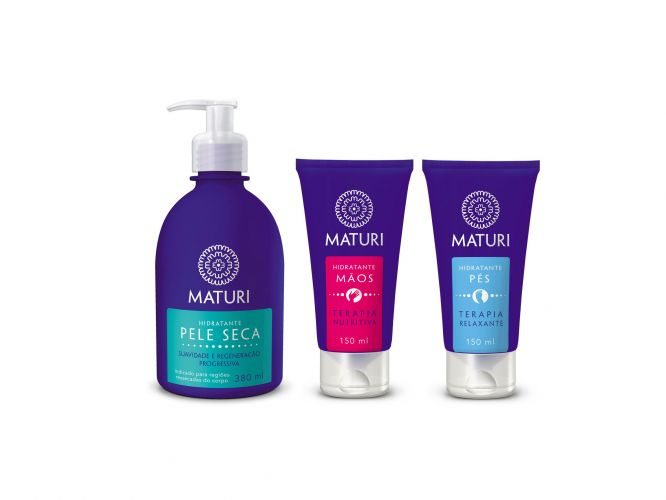 Linha de hidratantes da marca Maturi para mamães que têm pele seca. Preço sugerido: R$ 30,00 (corpo), R$ 28,00 (mãos) e R$ 30,00 (pés). SAC:0800 774 23 31