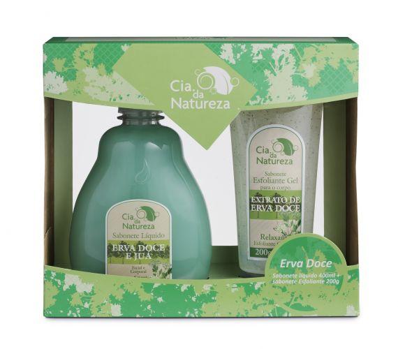 O kit de banho de erva doce da Cia. da Natureza vem com um sabonete líquido e um esfoliante em gel. Preço sugerido: R$ 20,00. SAC: 0800 019 7366