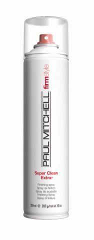 Super Clean Extra, Paul Mitchell. Spray aerosol de fixação máxima. Seca muito rápido e mantém o penteado firme e com brilho. Preço sugerido: R$ 81. SAC: (11) 5188-0088Preços pesquisados em dezembro de 2011 e sujeitos a alterações