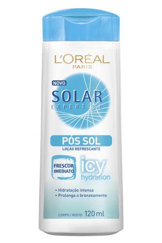 Loção pós-sol refrescante Solar Expertise Icy Hydration, tem textura leve e de rápida absorção; preço sugerido R$ 18,90, da L'Oréal Paris (SAC 0800-7016992)Preço pesquisado em janeiro de 2012 e sujeito a alteração
