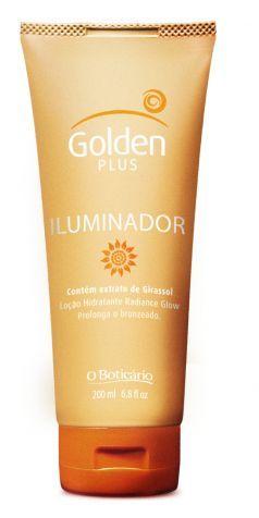 Loção hidratante Golden Plus Iluminador tem extrato de girassol, que promete hidratar e prolongar o bronzeado; preço sugerido R$ 21,90, de O Boticário (SAC 0800-413011)Preço pesquisado em janeiro de 2012 e sujeito a alteração