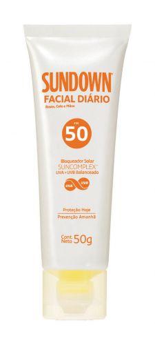 PELEProtetor Facial Diário FPS 50SundownProtetor facial contra raios UVA e UVB ecombate os danos causados pelo estresse.Preço sugerido: R$ 31 (Tel.: 0800-7036363)
