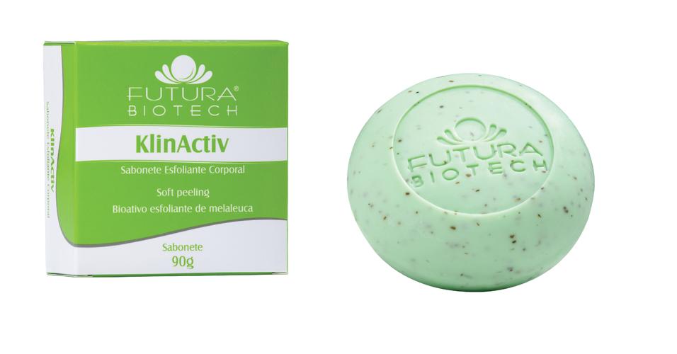 Junho 09: O KlinActiv Sabonete Esfoliante Corporal, da Futura Biotech, é um produto voltado para a pele oleosa, que promete auxiliar na remoção das celular mortas sem arranhar ou machucar a pele, regulando a oleosidade excessiva. O cosmético traz em sua composição o esfoliante de malaleuca, que tem ação antisséptica. Preço sugerido: R$ 18,95. SAC 0800-7070644