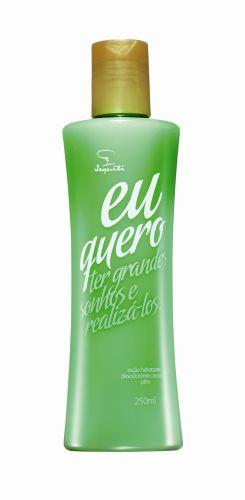 Junho 2009: A loção corporal Eu Quero, da Jequiti, tem fragrância de pêra e promete deixar a pele perfumada e hidratada por um longo período. Preço sugerido: R$ 15,80. SAC 0300-1067575