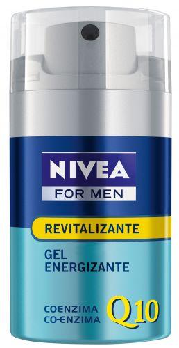Agosto 2009: Nivea For Men Gel Energizante Q10 promete atuar de maneira direta no processo de regeneração e revitalização facial. Preço sugerido: R$29,90. SAC: 0800 77 64832