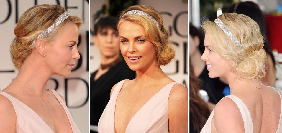 Para o Globo de Ouro, Charlize Theron usou uma tiara Cartier com penteado levemente despojado e coque de lado