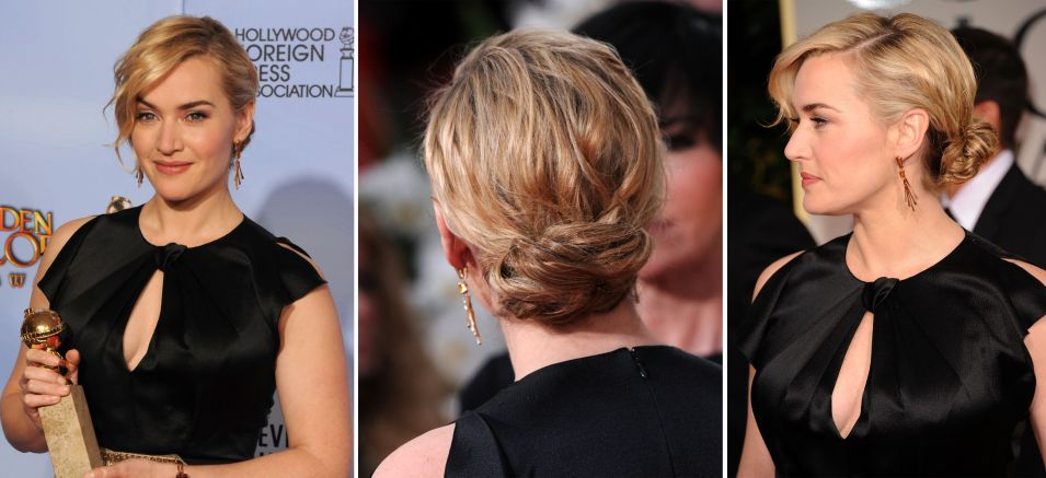 Kate Winslet usou coque baixo desmanchadinho e franja ondulada de lado para ir ao Golden Globes