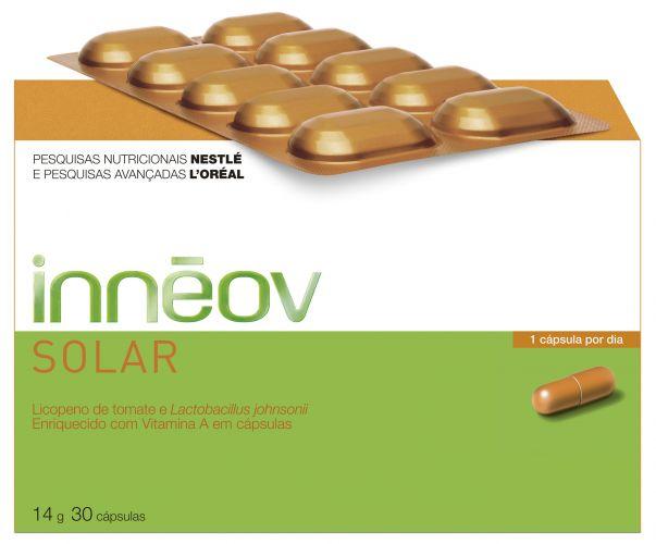 Innéov Solar, L'Oréal - O produto é um preparador solar via oral que reforça, de dentro para fora, as defesas celulares da pele, que são agredidas pelos raios ultravioleta e ainda ajuda a acelerar a regeneração da derme, tornando esse processo duas vezes mais rápido. Preço sugerido: R$ 104,90. SAC: 0800 727 4412