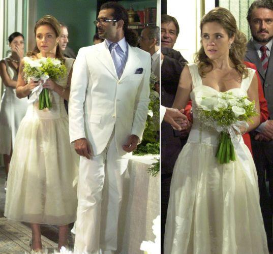 Para uma discreta cerimônia em casa, a personagem Lola (Adriana Esteves) de Kubanacan (2003) optou por um vestido creme sem bordados e em comprimento midi