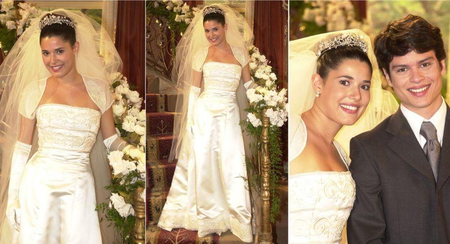 Em Começar de Novo, a personagem Branca (Manuela do Monte) se casou com Abel (Eduardo Pires) usando um vestido tomara-que-caia com bordados no busto e na barra, bolero de mangas curtas e luvas longas. Uma coroa e véu longo com várias camadas de tule complementaram o visual da noiva