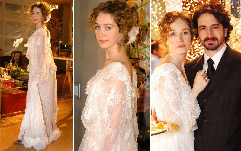 Camila Morgado usou um vestido de renda com modelagem soltinha e ares vintage para o casamento de sua personagem May, em