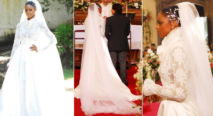 O vestido de noiva da personagem de Cris Vianna em