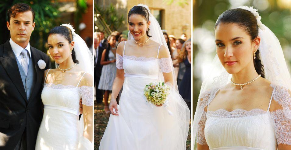 A atriz Patrícia Werneck interpretou uma personagem romântica que teve sua personalidade refletida no modelo de seu vestido de noiva em