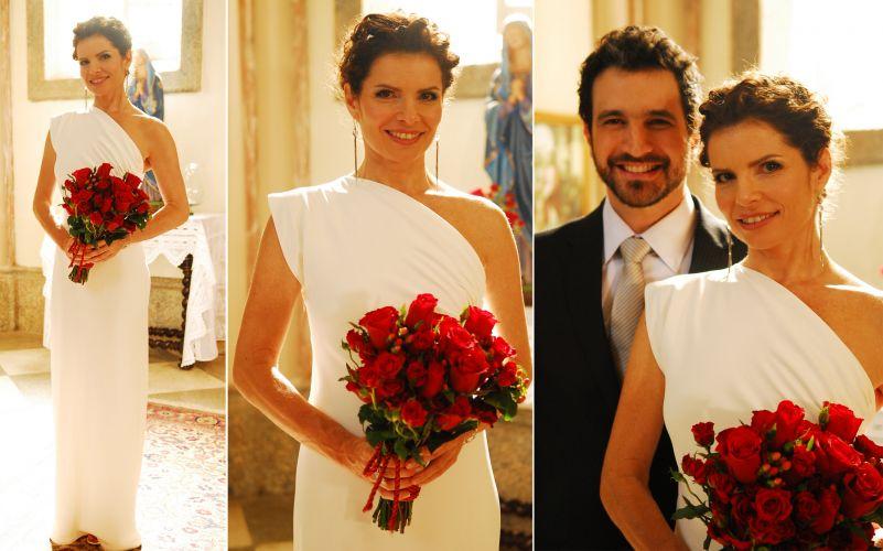 O vestido de noiva minimalista e com inspiração nas deusas gregas usado por Déborah Bloch em