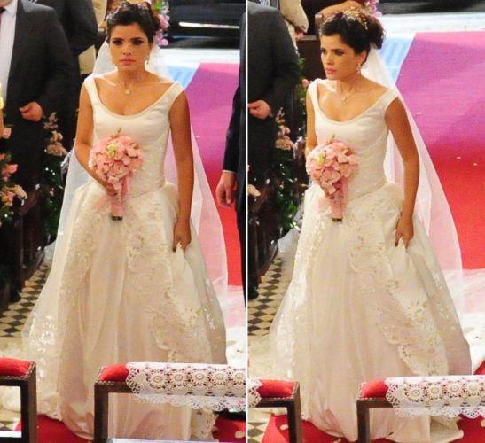 A personagem Celeste (Vanessa Giácomo) tentou se casar duas vezes em