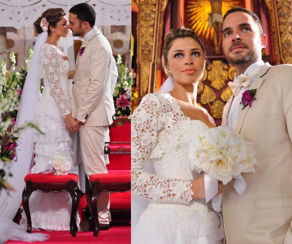 O vestido de noiva usado por Lucena (Grazi Massafera) em