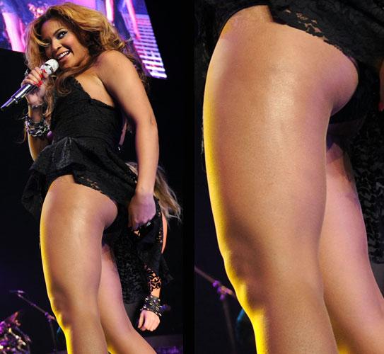 Beyoncé Knowles é dona das curvas mais admiradas do mundo pop atualmente e, nos shows, costuma abusar de modelitos que ressaltam a beleza de suas pernas e glúteos (17/03/2010)