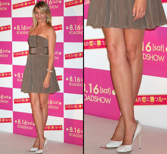 A atriz Cameron Diaz possui um par de pernas longas e lisinhas