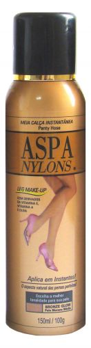 Nylons, Aspa - Permite maquiar as pernas por meio de um sistema de fácil aplicação: o aerossol. É encontrado em cinco tonalidades diferentes. Preço sugerido: R$ 50. SAC 0800 0261841