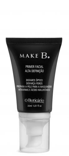 Make B. Primer Facial Alta Definição, O Boticário. Além de promover melhor fixação da maquiagem, possui uma formulação incolor, leve e de rápida absorção, com microesferas especiais de disfarce óptico, que captam e refletem a luz, disfarçando os poros dilatados. O resultado é um suave e uniforme. Contém ativos hidratantes que deixam a pele macia e hidratada. Preço sugerido: R$ 59,90. SAC: 0800-413011Preços pesquisados em outubro de 2011 e sujeitos a alteração