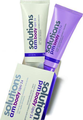 CORPOSolutions a.m.pm. Body Lipo 24, Avon, R$ 45 (SAC 0800-7082866). Oferece dois produtos para atacar a celulite 24 horas: a versão dia ativa a queima da gordura e a noite melhora a circulação e a oxigenação da pele