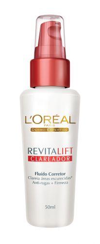 ROSTORevitalift Clareador Fluido Corretor, L?Oréal Paris, R$ 49,90 (SAC 0800-7016992). Verdadeiro três em um, clareia manchas, alisa rugas e confere mais firmeza ao rosto