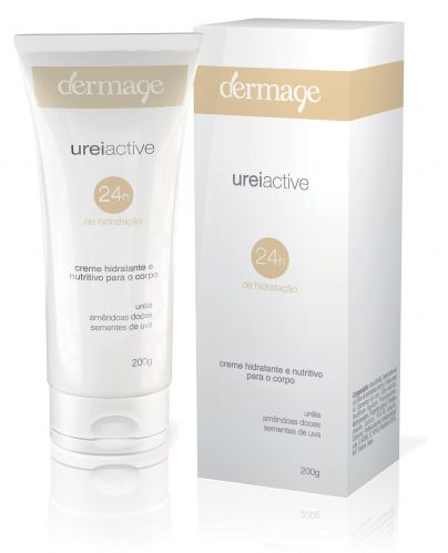 Ureiactive Dermage - Promete manter a pele hidratada, macia e suave por 24 horas. Sua fórmula contém Uréia a 10%, Amêndoas Doces e Sementes de Uva, e é ideal para o tratamento da pele seca, muito seca e áspera. Preço sugerido: R$ 63,00. SAC: 0800 024 1064