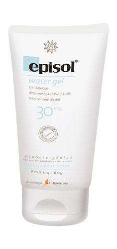 A textura não-oleosa do Episol Water Gel FPS 30, da Mantecorp, é rapidamente absorvida pela pele, sem deixá-la pesada. A marca promete proteção contra os raios UVA. Preço sugerido: R$ 32,82. SAC: 0800 -117788