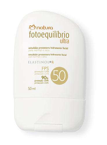 O Natura Fotoequilíbrio Ultra FPS 50 é indicado para rosto e corpo. O produto foi formulado para peles muito claras, com histórico ou propensão para a hiperpigmentação. Preço sugerido: R$ 33,80. SAC: 0800-115566